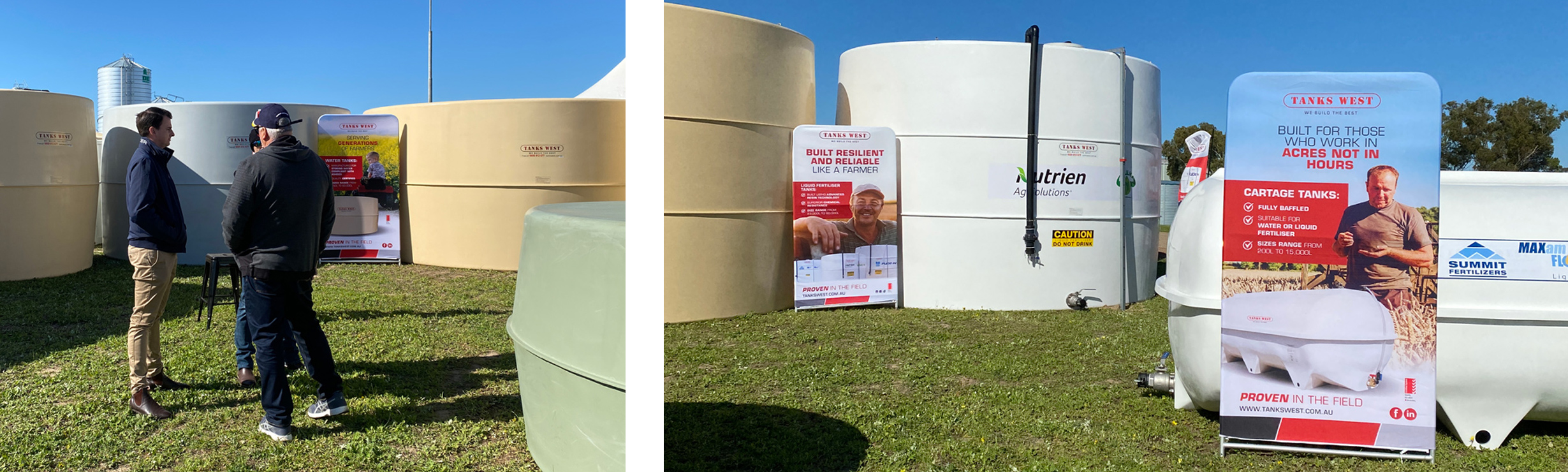 Tanks West Field Days 2021 - Onsite photo of customers and Liquid Fertiliser tank and cartage
